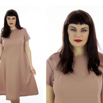 Mod Plus Size Dress 60s Tan A-Line 70s Retro 1960s 1970s Sixties Mad Men XL Xlarge