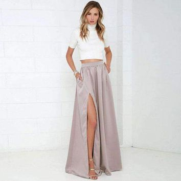 DCCKON3 Elegant Women Long Skirt with Pockets Classy Pretty Maxi Skirt with Slits Floor Length A Line Female Skirt for Ladies to Office