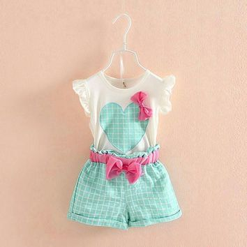 Kids Girls Suits Set Love Heart Bow Plaid Tops Vest+Shorts 2Pcs/Set Girls Clothes Suits For Children Summer Clothing Costume
