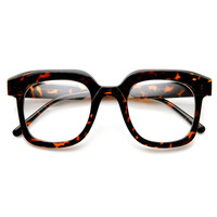 Retro Fashion Bold Thick Geek Square Horn Rimmed Glasses