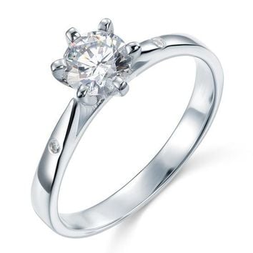 Sterling 925 Silver Created Diamond Wedding Engagement Ring