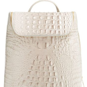 Women's Brahmin 'Darcy' Croc Embossed Leather Backpack