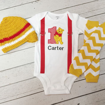3pc. Winnie the Pooh 1st Birthday Outfit-Baby Boys 1st Birthday Outfit-Baby Boys 1st Birthday Outfit-Boys Cake Smash-Leg Warmers-Beanie