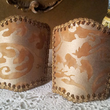 Pair of Wall Sconce Venetian Clip On Shield Shades Fortuny Fabric Warm French Brown & Gold Sevigne Pattern - Handmade in Italy
