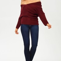 Off The Shoulder Cross Front Sweater