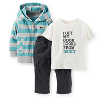 "Carter's Boys 3 Piece ""I Get My Good Looks From Daddy"" T Shirt, Blue/Grey Striped Zip Up Hoodie and Pant Set"