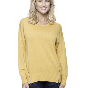 Cashmere Blend Crew Neck Sweater with Side Zip - Mustard