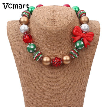 Vcmart Christmas Necklace Green Beads Red Bow Princess Chunky Necklace kids girls bubble bead necklace for DIY jewelry