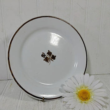 Ironstone Dinner Plate Alfred Meakin Copper Lustre Tea Leaf Pattern Antique Individual Round Plate Shabby Chic Well Used Condition Decor