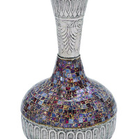 Decorative Long Neck Metal Glass Vase With Mosaic Design (Small)