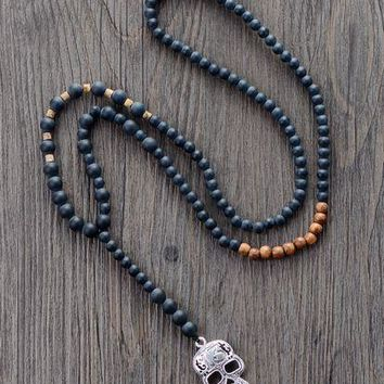 Men Gothic Necklace Matte Black Onyx Wood Skull Pendant Mens Rosary Necklace Beaded Mens Steampunk Jewelry Dropshipping
