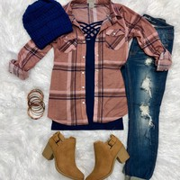 Penny Plaid Snap Flannel Top: Mauve