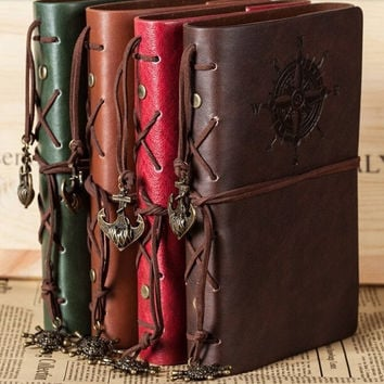MC 2014 Spiral NoteBook Newest Diary Book Vintage Pirate Anchors PU leather Note Book Replaceable Xmas Gift Traveler Journal