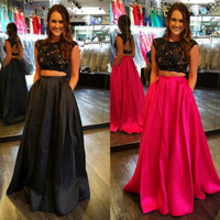 Two Piece Lace Prom Dress,Prom Dress,Long Evening Dresses