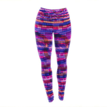 "Frederic Levy-Hadida ""Squares Traffic Pink"" Yoga Leggings"