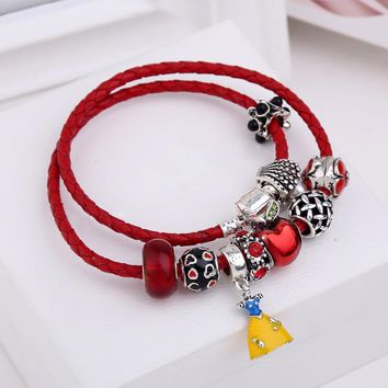 Wedding Gift Red DIY Real Leaher Charm Women Bangles Snow White Dress Charms Bead Bracelet for Ladies Fashion Love Jewelry
