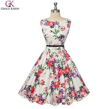 1950 Prom Dresses Vintage Dress Summer 2017 Robe Grace Karin Polka Dot Floral Retro Swing Pinup Casual Plus Size Women Clothing