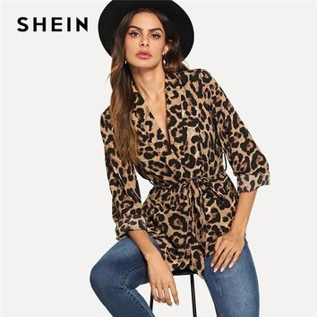 Multicolor Highstreet Office Lady Shawl Collar Belted Leopard Print Elegant Blazer  Autumn Workwear Women Outerwear