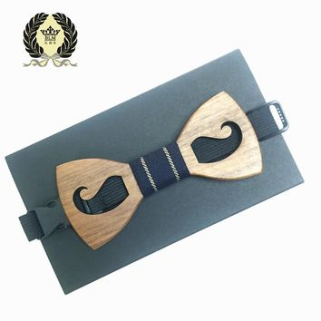New Arrivel Brand Fashion Handmade Wood Bow ties Bowtie Butterfly Gravata Ties For Men Geometric Wooden bow tie high