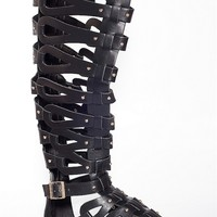 Breckelles Style Strategy Knee High Gladiator Sandals - Black