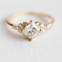 ROMAD Geometric Square CZ Rings for Women Wedding Gold Color Rhinestone Female Finger Rings for ladys Charm Jewelry anillos R4