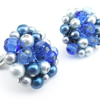 Vintage Earrings 1950 Blue Bead Pearl Clip On Earrings Costume Jewelry Marked Japan
