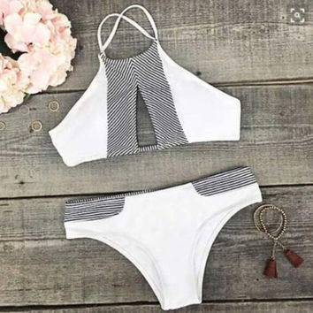 White Bikini Set Swimsuit Bandage Bathing Suit For Women