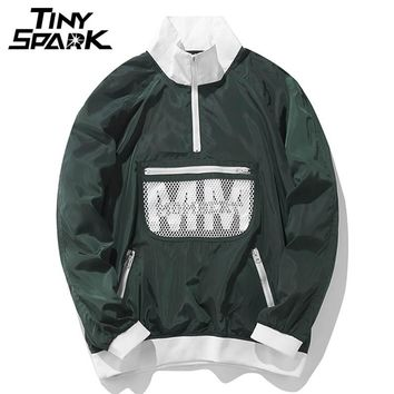 Men Jacket Windbreaker Hip Hop Thin Jacket Front Pocket Pullover Over sized Green Track Street wear