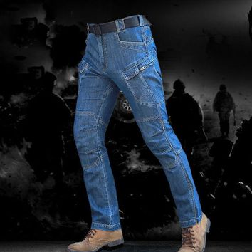 LMFONHS Outdoor Camping & Hiking Pants men Tactical Military IX7 Denim fabric trousers Airsoft Urban SWAT Denim Cargo Pants blue