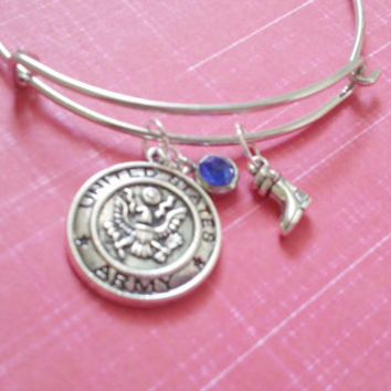 Army Charm Bracelet / Adjustable Bangle / Army Wife Army Mom / Military Wife / US Army Gifts / Theme Charm Bracelet / Custom Military Gifts