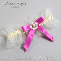 "Ivory and Pink Tulle Wedding Garter Bridal Garter ""Natalie"" Silver 871 Ivory 183 Garden Rose Prom Luxury Garter Plus Size & Queen Size"