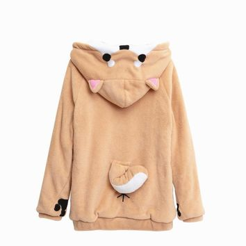 2017 Harajuku Japanese Kawaii Hoodies Women Sweatshirts Ears Cute Doge Muco Autum Winter Plush Lovely Muco Anime Hooded Hoodies