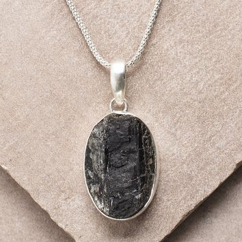 Natural Black Tourmaline Pendant Necklace - Medium