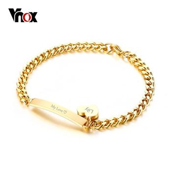 Vnox Can Engrave Thin ID Tag Bracelet Heart Charm Bangle for Women Stainless Steel Chain Charms Bracelets Lady Jewelry Bijoux
