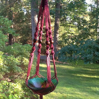 Macrame Plant Hanger,  6 mm Polyolefin cord, plum, burgundy shade with brown wooden beads,  modern style