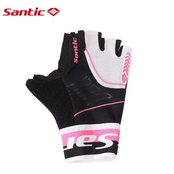 DCCKHN1 Santic Womens Short Sleeve Cycling Gloves Guantes Ciclismo Breathable Padded Outdoor Sports Motocross MTB Bicycle Gloves 6C09049