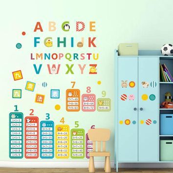children teaching tools animals  English alphabet Nine multiplication tables kids room nursery wall sticker home decor decal