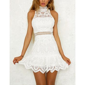 Fashion New Lace Sleeveless Leisure Vest Dress Women White