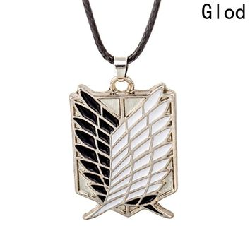 1pc Pendant Necklace Attack on Titan Scout Regiment Logo Necklace Investigation Body Erwin Smith Jewelry Accessories