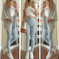 Super High Waist Denim Skinnies - Light Blue