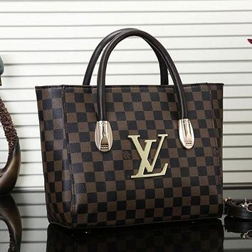LV Louis Vuitton Fashion Women New Monogram Check Shopping Leather Bag Shoulder Bag Handbag Crossbody Satchel