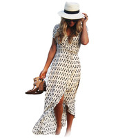 Summer Short Sleeve Polka Dots Maxi Dress Women's Casual V-Neck Beach Party Long Dress Vestidos