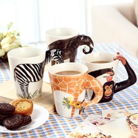 3D Animal Series Painted Coffee Cup