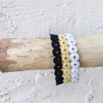 Crochet bracelet Crochet cuff bracelet  Crochet jewelry Fiber art jewelry Gold and black Wearable art Gift for her Metal free jewelry