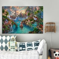 Thomas Kinkade Peter Pan Pictures Canvas print Painting Poster and Print home decor wall Art pictures for living room caudros