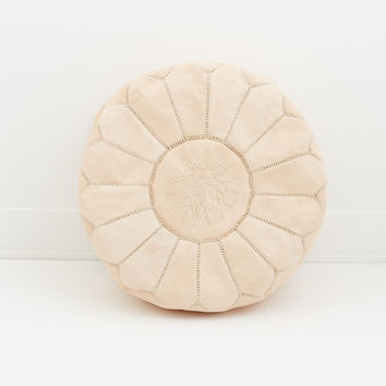 Moroccan Leather Pouf, Nude