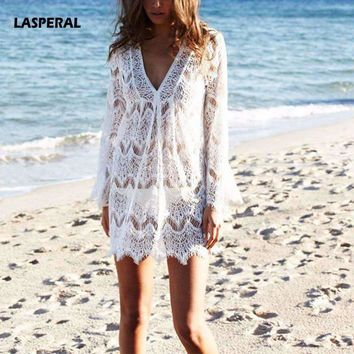 LASPERAL 2017 Summer White Lace Crochet Beach Tunic Women Beachwear Sexy V Neck Long Sleeve Hollow Out Cover Ups Sunscreen