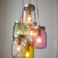 Mason Jar Chandelier Lighting Fixture Mason Jar Lamp by BootsNGus