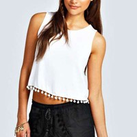 Jordanna Pom Pom Trim Crop Top