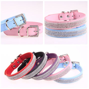 New Bling small Dog Collar PU Leather Rhinestone diamond Pet Puppy Cat collar Fashion Necklace designer dog collars X M L size